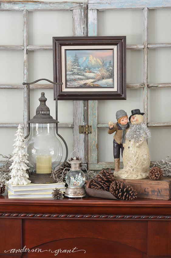 Do you hate how bare everything looks once the Christmas decorations are down?  Check out this post for some tips on how to create a great mantel for winter.  |  www.andersonandgrant.com