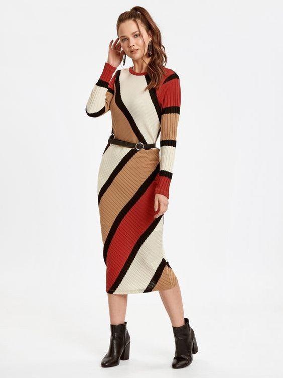 Lcw Bayan Elbise Modelleri Krem Midi Uzun Kol Renk Bloklu Kemerli Triko Elbise Siyah Topuklu Bot The Dress Elbise Moda Stilleri