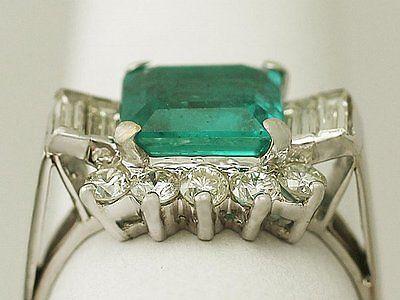 3.05ct Emerald & 0.96ct Diamond, 18ct White Gold Dress Ring - Vintage Size Q1/2