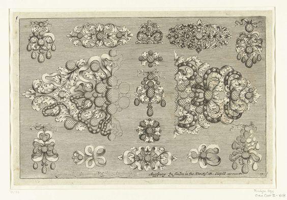 Josef Friedrich Leopold   Vijftien ontwerpen voor juwelen, Josef Friedrich Leopold, David Baumann, 1695   Blad 17 uit serie van 17 bladen.