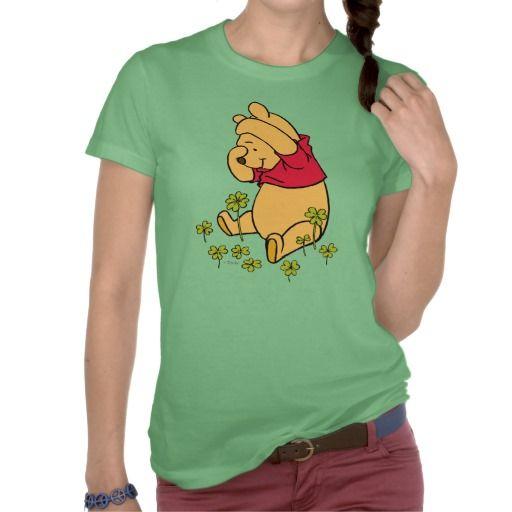 Pooh Playing in a Shamrock Patch Tees #stpatricksday #stpattys #stpattysday #zazzle #green #poohbear #disney #winniethepooh #lucky #sweepstakes #shamrock