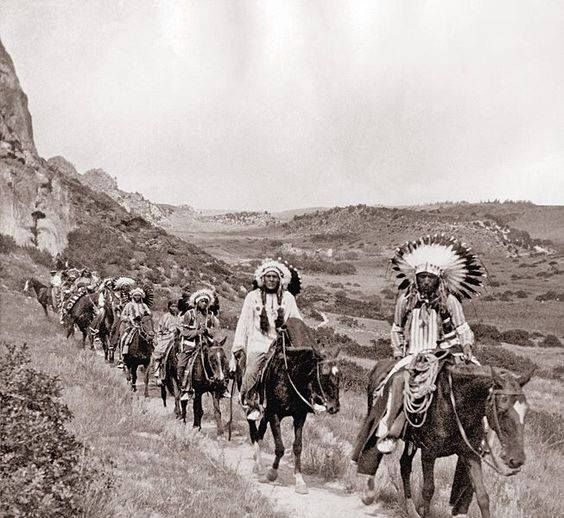 Comanche Indians in Palo Duro Canyon photograph taken 1890's on JA ranch Buffalo hunt with Teddy Roosevelt Charles Goodnight Chief Quanah Parker and Big Tree Lone Wolf Sr. Hunt was staged for Edison film crew. From Texas History on Facebook