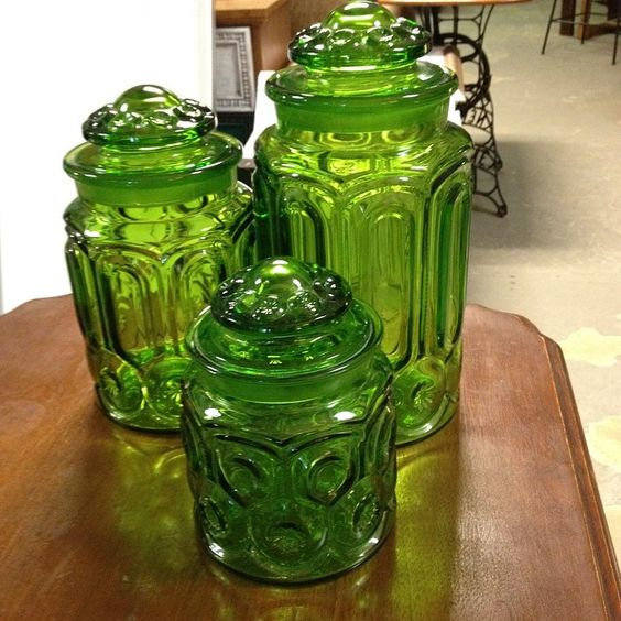 Vintage Green Canisters. I'm thinking cookie jar!