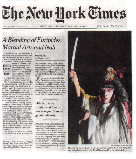 "NewyorkTimes Hiroshi Jin's ""Medea"""
