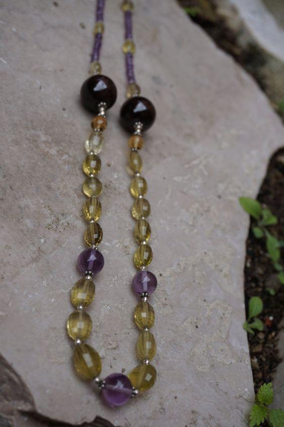 Citrine and Amethyst Gemstone Necklace with Red Garnet by RubyRaw