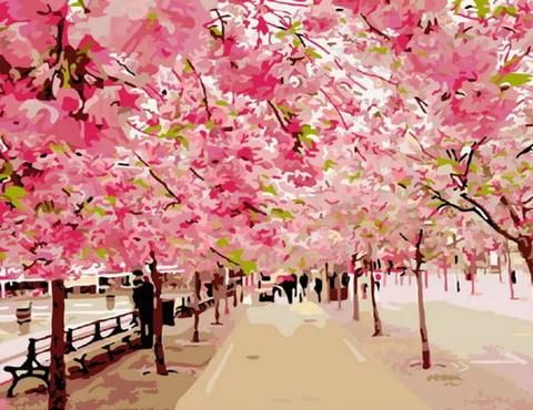 The Cherry Blossom Trees Landscape Paint By Number Numeral Paint Paint By Number Diy Painting Pretty Landscapes