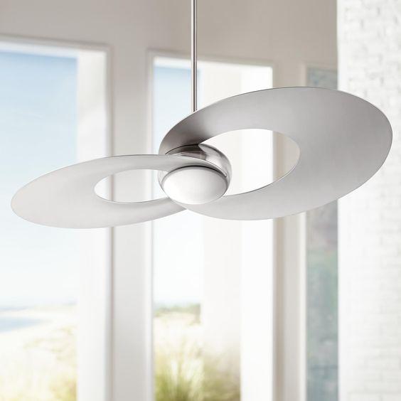 "52 Casa Vieja Tropical Veranda Bronze Outdoor Ceiling Fan: 52"" Innovation™ Brushed Nickel LED Ceiling Fan"