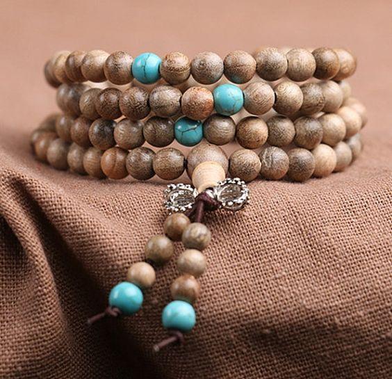 Natuurlijke 108 6mm Phoebe zhennan ronde wit hout Turquoise Spacer Charms DIY Boeddha gebed kralen armband Japa Mala ketting boeddhisme