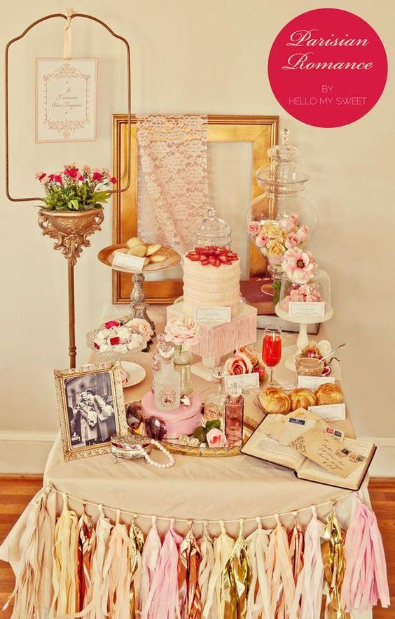 Vintage Parisienne party: Dessert Tables, Buffet Table, Vintage Party, Bridal Shower, Valentine, Party Ideas, Sweet Table
