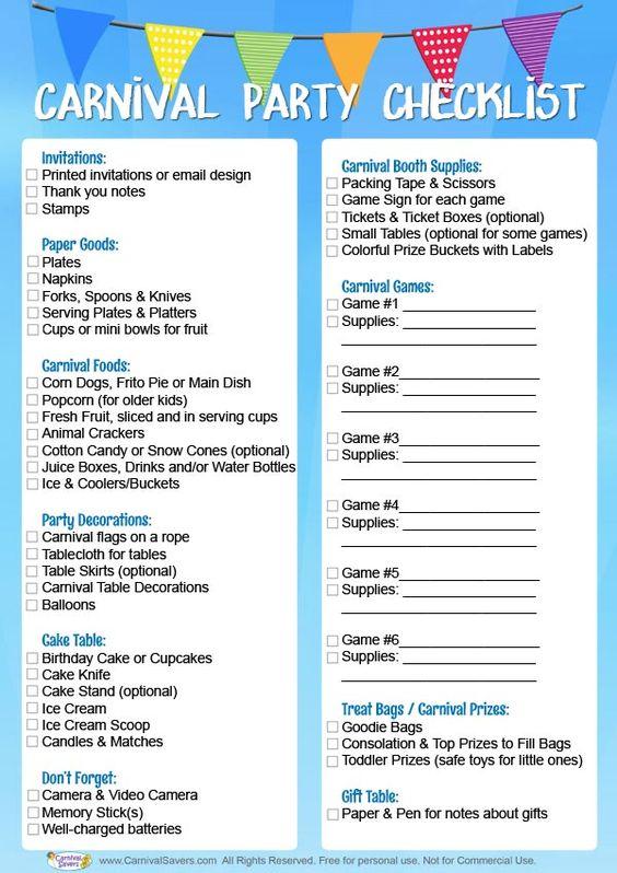 Carnival Birthday Party Checklist - FREE DOWNLOAD! AESH 15th - birthday party checklist template