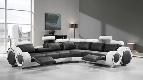 Divani Casa 4087 Black And White Bonded Leather Sectional Sofa