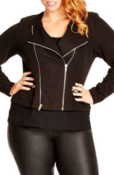 City Chic Double Zip Jacket (Plus Size) available at #Nordstrom