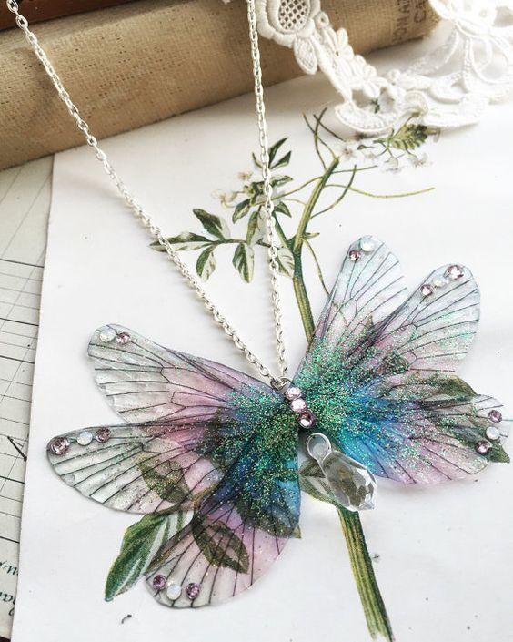 Pretty purple raninbow Faerie wing Necklace with a large Swarovski drop