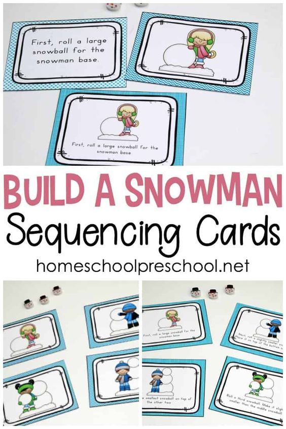How To Build A Snowman Sequence Card Printables Sequencing Cards Winter Preschool Printables Winter Activities For Kids Snowman sequencing worksheet free