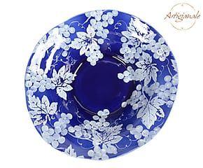 Centrotavola/Insalatiera in ceramica Chianti blu e bianco - 38x11x38 cm
