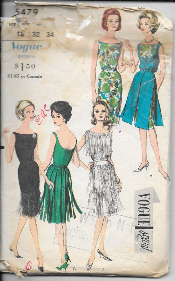 Vintage Vogue 5479 - Lady&-39-s Cocktail Dress - Never Used - Ladies ...