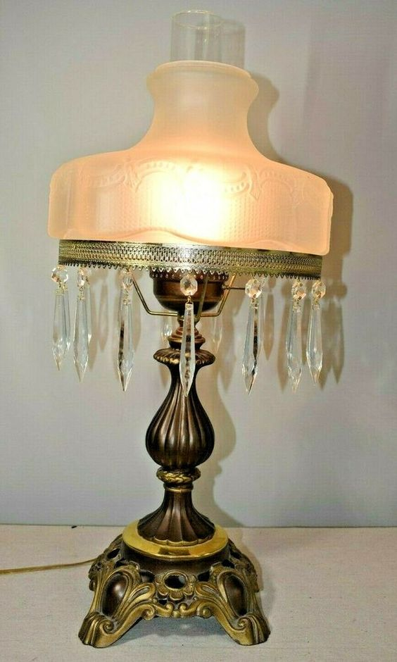 Vintage Satin Glass Lamp Shaded Brass Lamp With Hanging Prisms 25 5 Tall Brass Lamp Glass Lamp Lamp