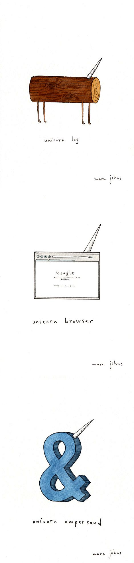 """from Marc Johns' adorable series, """"everything wants to be a unicorn"""" (click through for the rest)"""