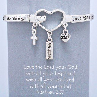 "Designer Inspired Silver Religious Heart Bracelet, Stretch, Bible Verse, Matthew 22:37. Size : 1 1/4"" H, Stretchable. Cross Charms by Hail Mary Gifts, http://www.amazon.com/dp/B00CSV3MCW/ref=cm_sw_r_pi_dp_ZhDTrb1Y2RXE6"
