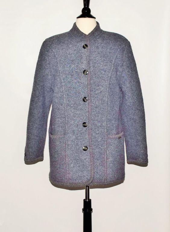 GEIGE 100% Wool Gray Button Down Womens Jacket Coat Blazer Made in Austria Sz 40 #GEIGE #BaseballJacket