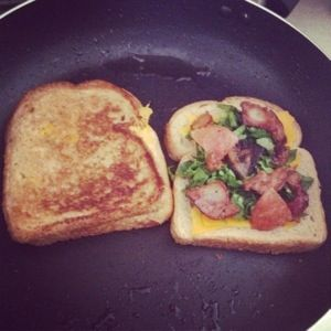 Grilled Cheese w/ spinach bacon tomato