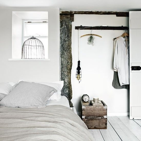 : Decorating Idea, Interior Design, Rustic Bedrooms, Beach House, Bedside Table, 3/4 Beds, Bedroom Inspiration, White Bedrooms, Bedroom Designs