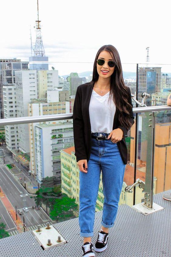 estilo casual com calça jeans comportado