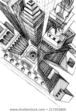 Top view of a city skyscrapers drawing, aerial view sketch
