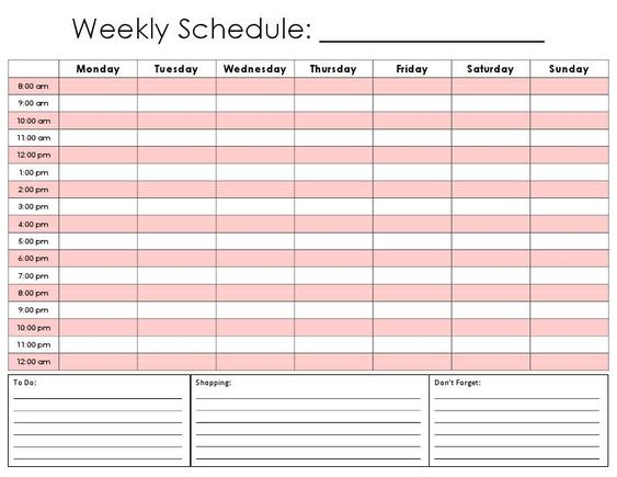 google schedule template