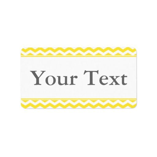 Yellow & White Sticker or Label w/ Custom Text Custom Address Label