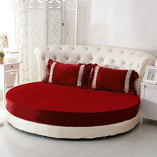 Jiejiede Round Bed Sheets Crystal Velvet Warm Bedspreads Soft Bed
