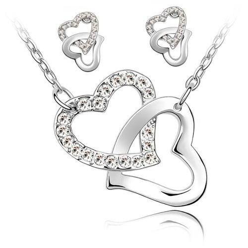 Parure Collier et Boucles d'oreille 2 Coeurs entrelacés et Chaîne en plaqué Or blanc 18 carats – Blanc   Your #1 Source for Jewelry and Acce...