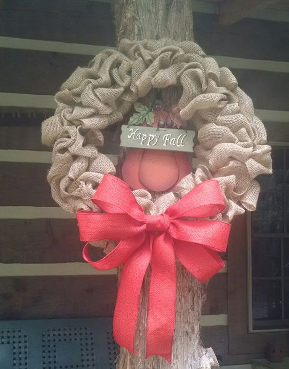 Rustic Burlap Wreath 18  Wire Frame Front Door by RusticRiches4, $55.00