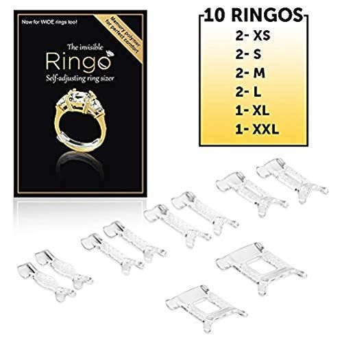 Ring Size Adjuster for Jewelry Guard,Invisible Ring Sizer,Fitter with Transparent Memory Material for a Perfect Fit,Multi-Size 10-Pack