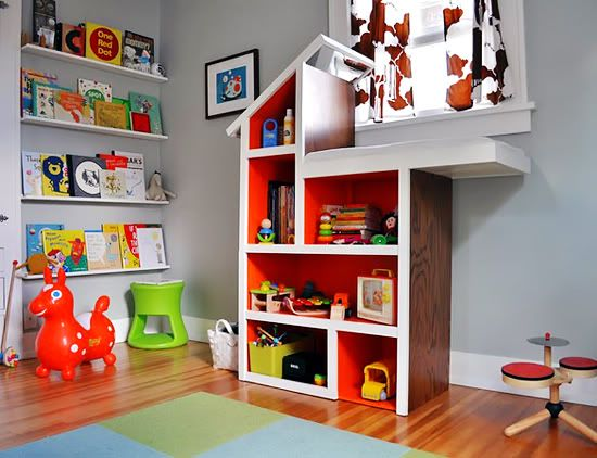 Modern Boy Nursery - How cool is the Dollhouse Changing Table?