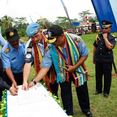 This photo shows a ceremony during which the UN Peacekeeping Mission in Timor-Leste handed over policing responsibilities to the Polícia Nacional de Timor-Leste.  The mission ended its operations on Monday 31 December 2012 in line with the expiration of its mandate and amidst significant progress made in establishing peace and security in the country.     More information here: http://ow.ly/gslVW    Credit: Martine Perret
