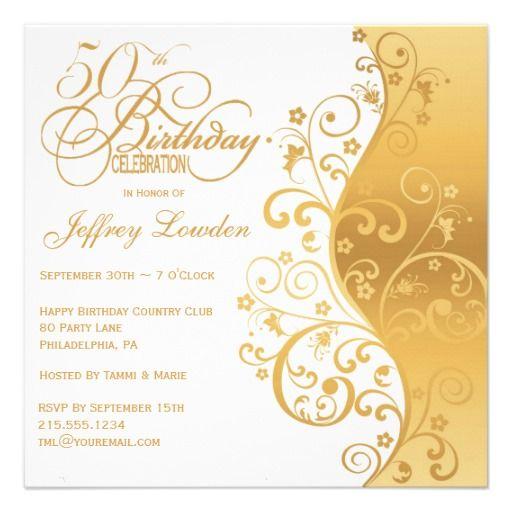 White Gold 50th Birthday Party Invitationzazzle – Zazzle Party Invitations