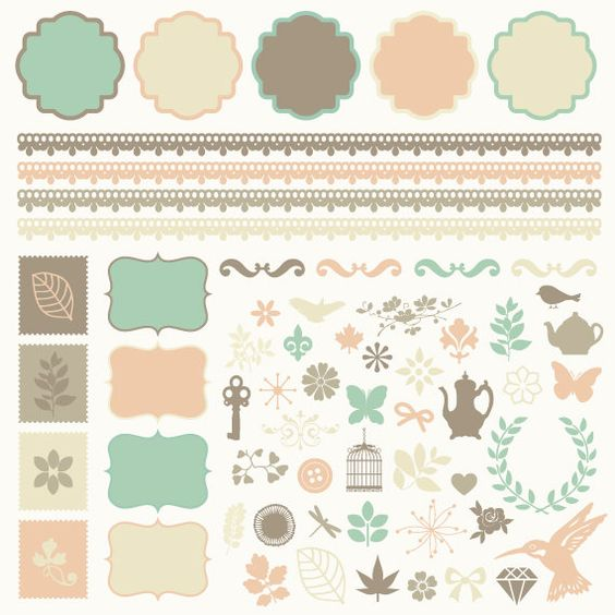 INSTANT DOWNLOAD - Digital Clipart Set - Borders Labels Flourishes - Brown Pink Green Beige - 61 Pieces - labelset39