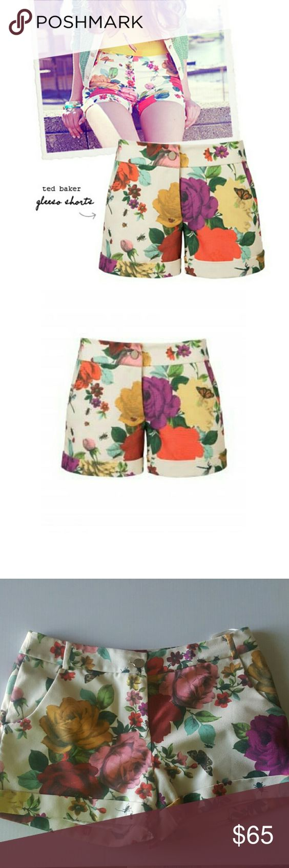 SUPER SUNDAY SALE 💓💓💓Ted Baker shorts SALE PRICE FINAL. How cute are these? I hate to let them go but they are just too big for me and my seamstress advised me that the alteration may change the shorts structure😣😣😣 shorts are fully lined, have slash front pockets and sealed welt back pockets. 100% poly , 97% poly 3% elastine (lining). 3 1/2 in. Inseam and 11.5in leg opening. Ted Baker Shorts