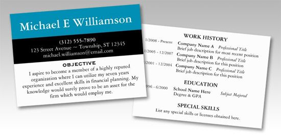 Black Stripe Blue u2013 RESUME Business Cards Business related - resume business cards