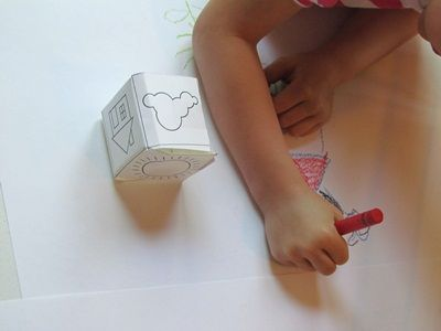 Fun pre-k art activity! -- A sunny day drawing cube game