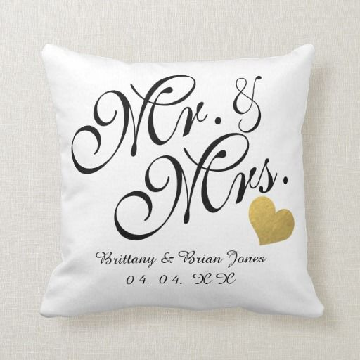 Wedding Black Script Gold Heart Name Mr And Mrs Throw Pillow