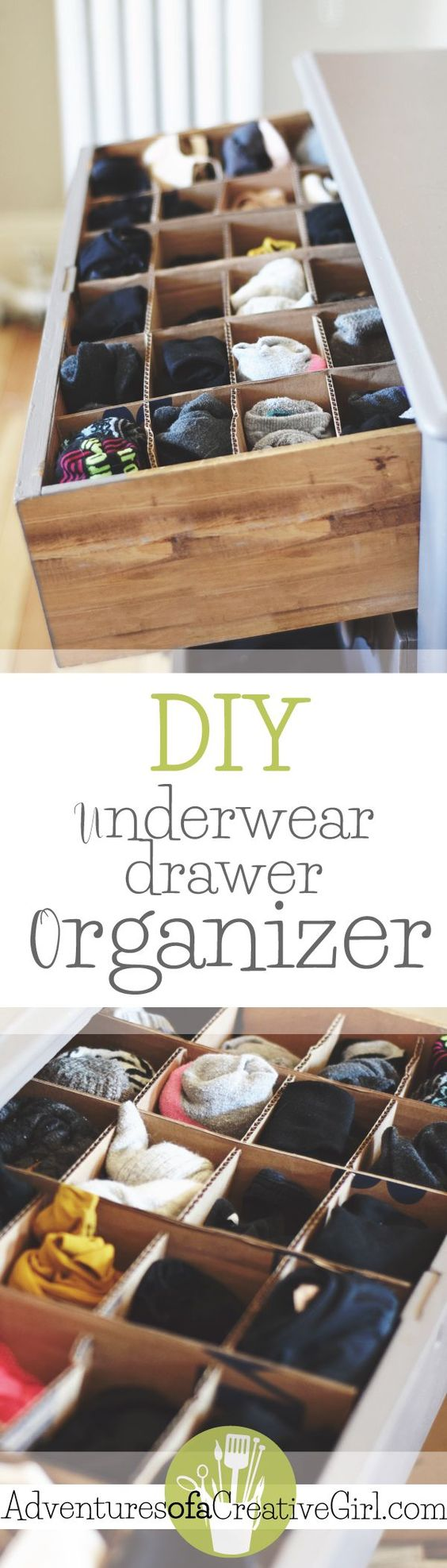 Learn how to make your own underwear drawer organizer for FREE with materials you have around the house! Step-by-step instructions with pictures.: