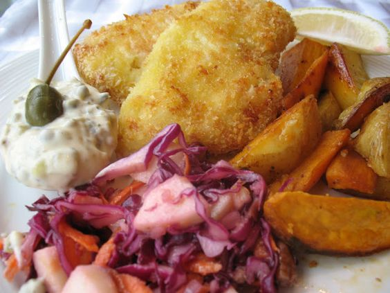 Anna's Table: Panko Crusted Cod, Served with Spanish Smoked Paprika Potatoes and Red Cabbage Cole Slaw.
