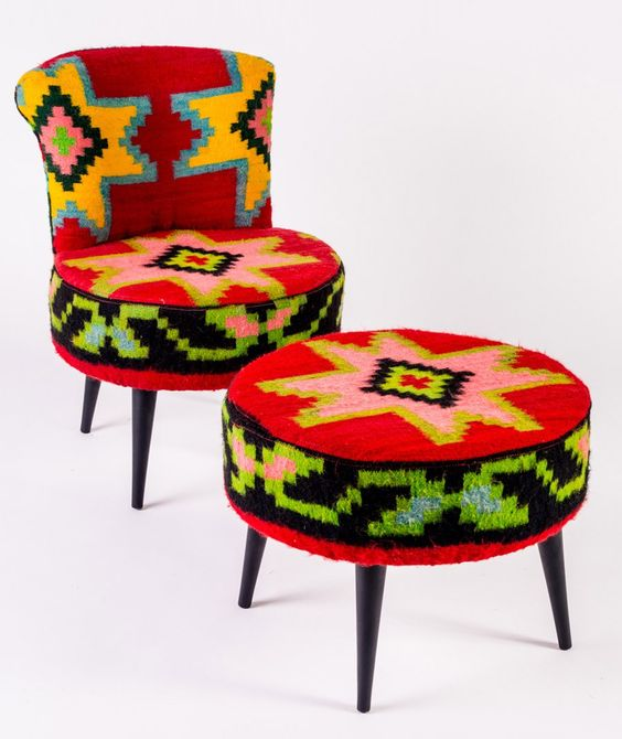 Small lounge chair (left) with wool kelim fabric of RocktheKasbah Dimensions: 40cm diameter; seat height 33cm; height backrest 70cm - 399 eur
