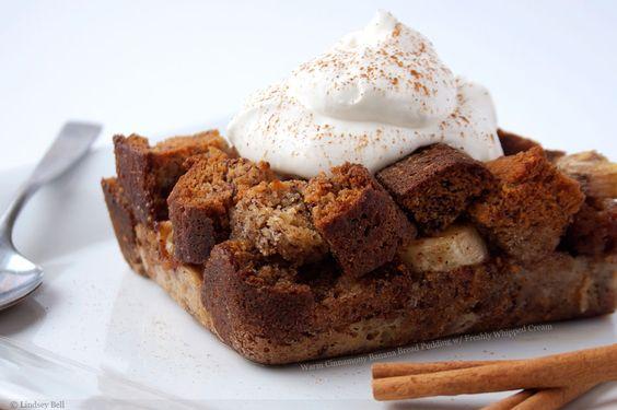 Warm Cinnamony Banana Bread Pudding with Freshly Whipped Cream