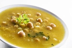 Immune-Boosting Chickpea and Roasted Garlic Soup (includes onion, carrot, celery, chicken stock, zest of lemon, parsley, salt, and pepper)