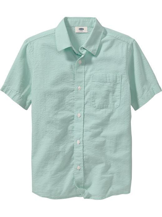 Boys Textured Seersucker Shirts