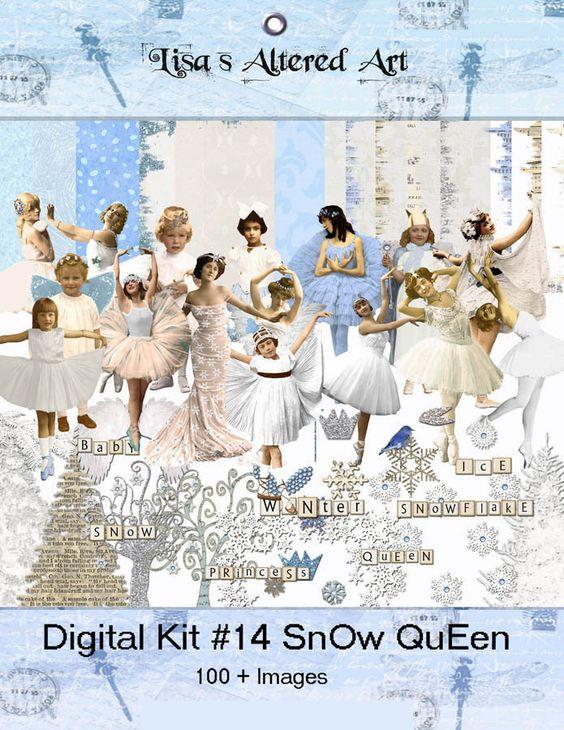Digital Kit 14 SnOw QueEn Kit Winter Elements by lisasalteredart
