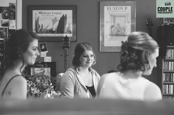 The bridesmaids chat while the bride gets her hair done. Weddings at Tankardstown House by Couple Photography.